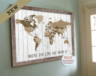world map push pin distressed background framed worldmap gift for dads paper gift for anniversary large current map