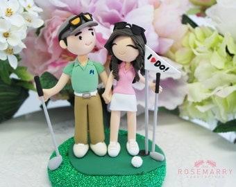 Custom wedding cake topper - Golfers