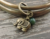 Elephant Bracelet Set, Antiqued Brass Stacked Bracelets, Green Jasper Stone Bead, Gypsy Jewelry, Bohemian Indian Bangles, Boho Bracelets