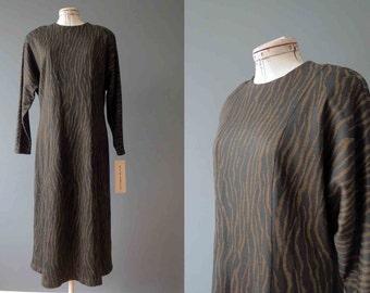 80s Dolman Sleeve Brown Zebra Print Sweater Dress Midi Dress Medium Deadstock