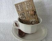 CUSTOM ORDER for Michelle Quilted Tea Wallet Mocha Brown with TEA Letters Brown Plaid  Cream Homespun Fabric Quilted Tea Leaf- Gold Button