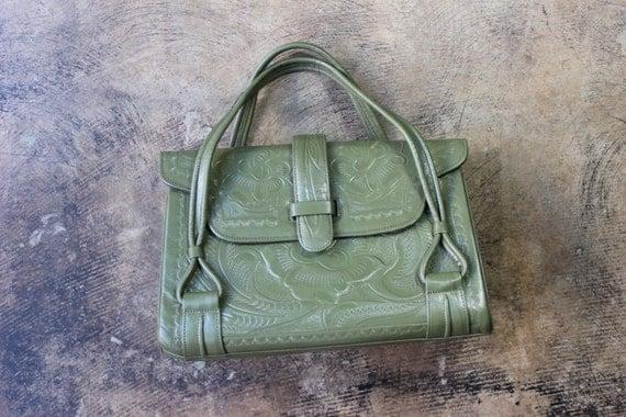 1950's Tooled Leather PURSE / Vintage Olive Green Leather Handbag / Southwestern Bag