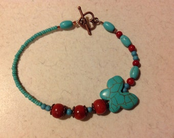 Red Coral & Turquoise Bracelet And Earrings