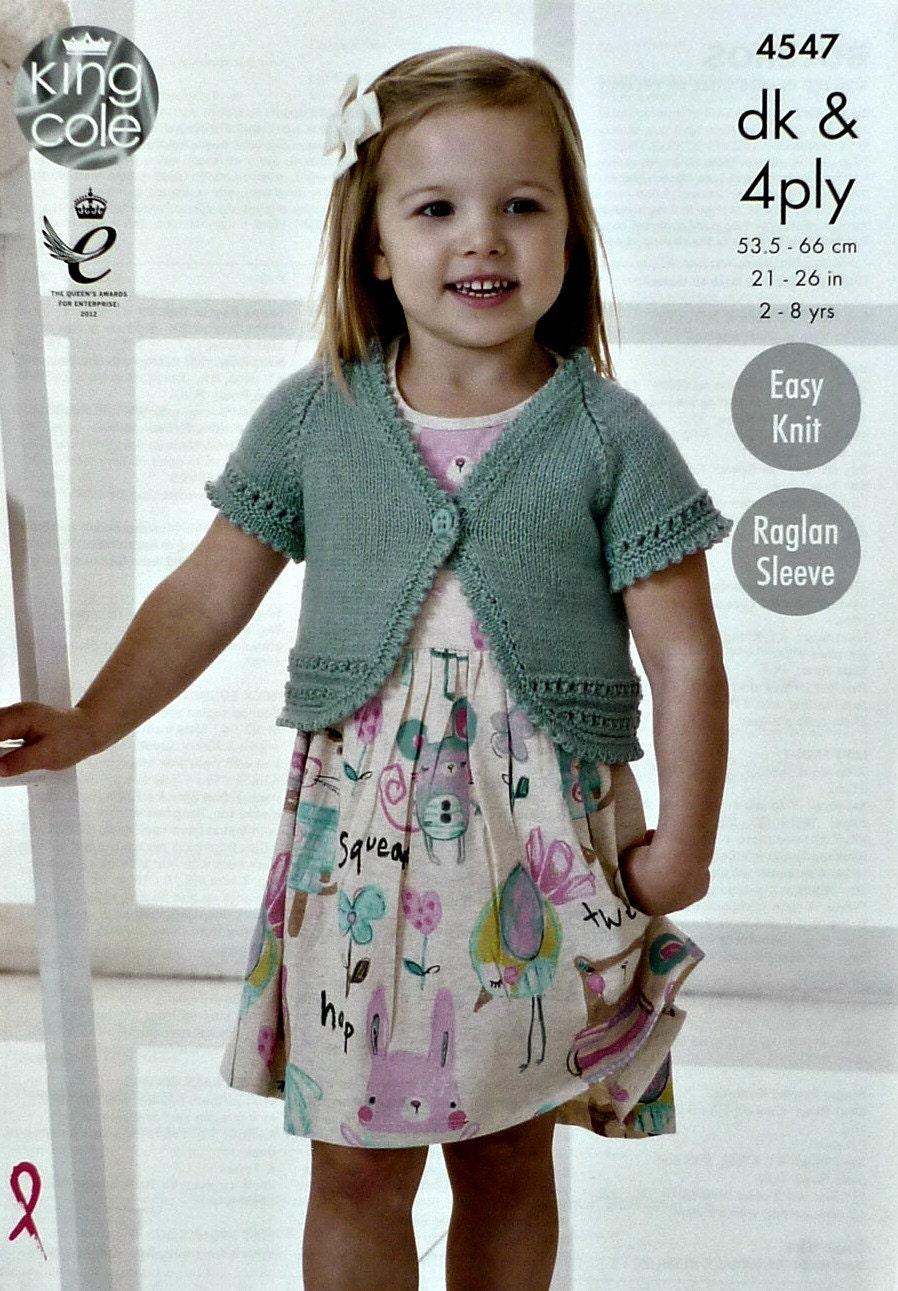 Girls Knitting Pattern K4547 Girls Easy Knit Short Sleeve V-Neck ...