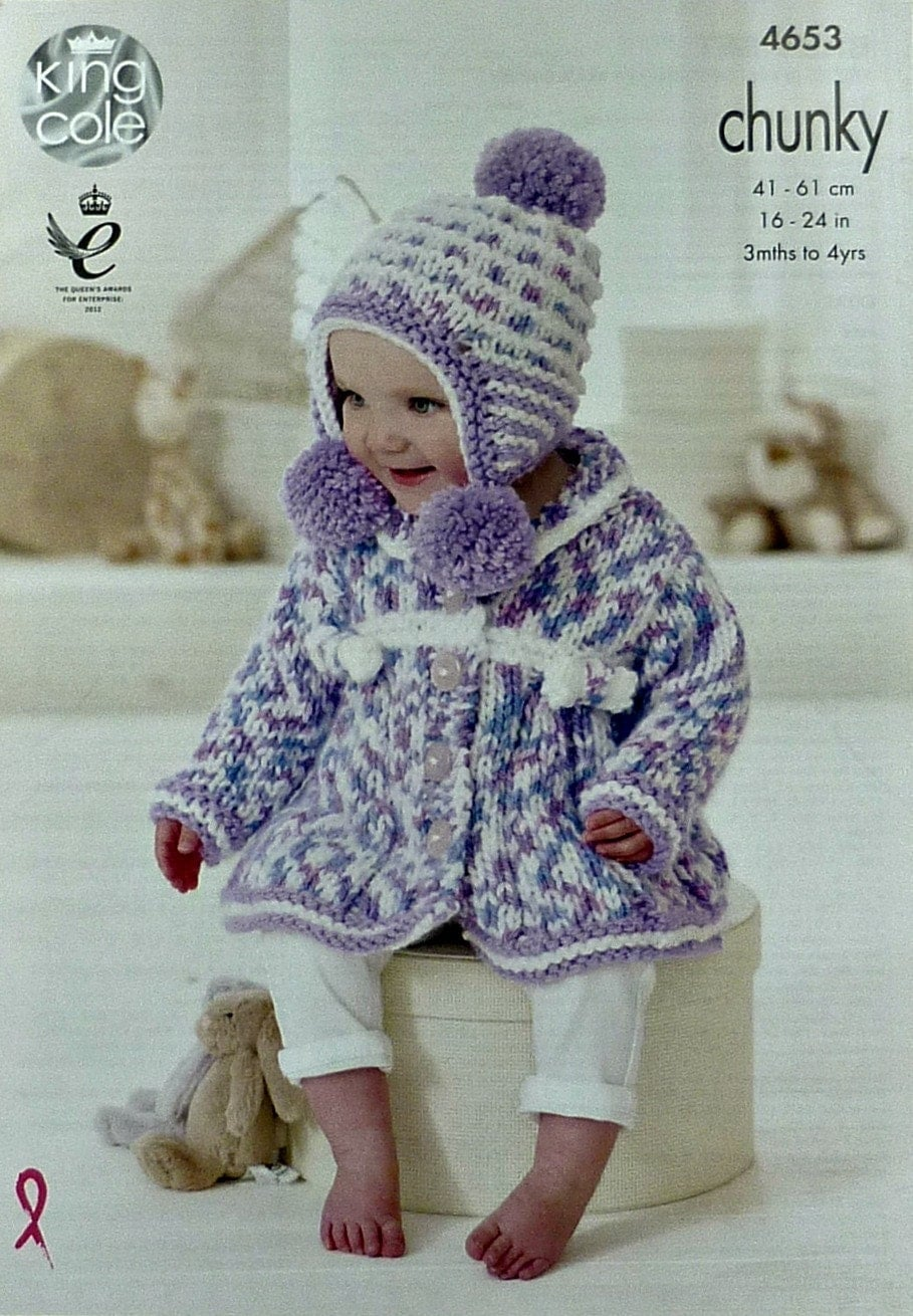 Earflap Hat Knitting Pattern Bulky Yarn : Baby Knitting Pattern K4653 Babies Coat and Earflap Bobble ...