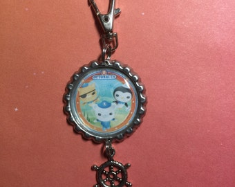 Disney Jr.'s  The Octonauts Bottle Cap Keychain,Bookbag or Purse clip - Barnacles, Kwazii and Peso