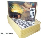 Christmas Gift. Professional Dominoes Set double Nine with Artwork. Five designs to choose