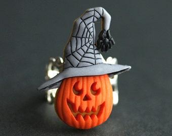 Halloween Ring. JackoLantern Ring. Pumpkin Ring. Halloween Jewelry. Jack o Lantern Ring. Adjustable Ring. Silver Ring. Handmade Ring.