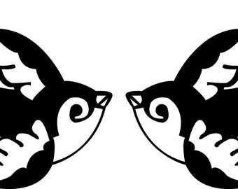 Twin Pack Tattoo Style Swallow vinyl Stickers
