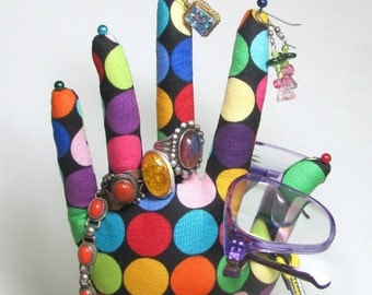 Lotsa Colorful Dots Fabric Hand Necklace Jewelry Display REGULAR Style HAND-Stand