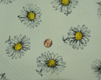 Vintage 1970s Crantex Daisy Print Honeycomb Weave Cotton Fabric 2 yards