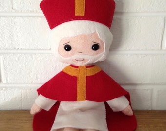 Catholic Felt Saint Doll - St. Nicholas - Wool Felt Blend