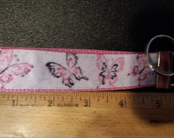 Butterfly Key Fob, Wristlet, Key Chain with Pink Webbing