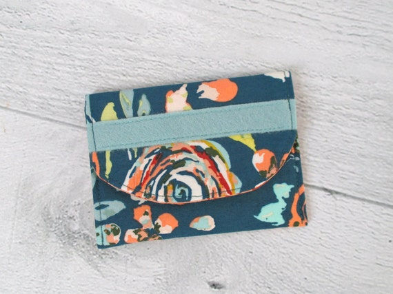 Memory Card Wallet. Teal Floral Memory Card Case. Business Card Case. Mini Wallet