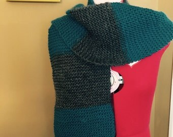 Hand knit alpaca wool scarf