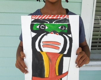 Totem Painting inspired by the Pacific Northwest painted by 11 year old Artist