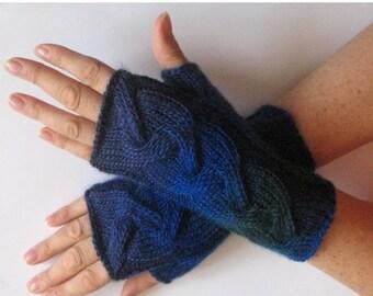 Fingerless Gloves Dark Blue Green Black Arm Warmers Knit Soft