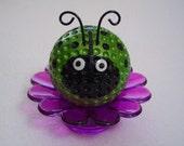 Ladybug Paperweight / Ladybug Desk Flower / Ladybug Decor / Green Shimmer Ladybug