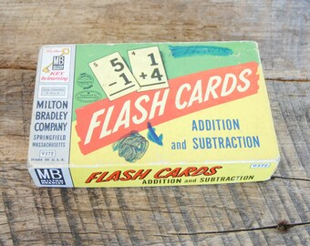 Vintage Subtraction/Addition Flash Cards Milton Bradley 1950s