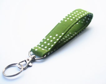 Key chain, Fabric Key Fob, Short Lanyard With Snap, Green and White