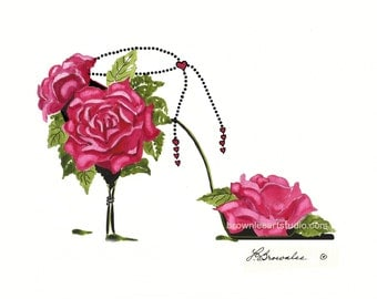 Roses and Hearts on a Chain Flower Shoe - Signed and Free Shipping Wall Art