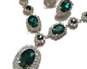 Wedding jewelry, bridesmaid necklace earrings, vintage inspired rhinestone bridal statement, Emerald Green jewelry set
