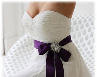 Bridal sash, bridal belt, bridesmaid sash,crystal sash, ribbon sash, rhinestone belt, wedding accessory, purple bridal sash, bridesmaid belt