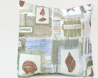Sea Shore Eco Friendly Throw Pillow Cover Beach Cottage Decor Upcycled 20 X 20,