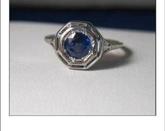 Antique Art deco 18k Sapphire Filigree Engagement Ring