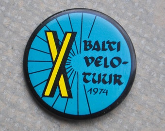"Vintage Estonian tin badge,pin.""X Baltic Velotour 1974"""
