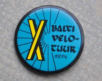 "Vintage Estonian tin badge,pin.""X Baltic Velotour 1974"""