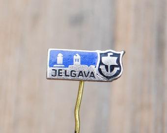 "Vintage Latvian enamel badge,pin.""Latvian town-Jelgava"""
