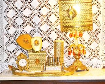 Vintage Globe Vanity Set 24K Gold Plated