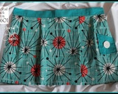 """Turquoise and Red Atomic """"Cocktail Kitsch"""" Apron A1601, Vintage Button Trim"""