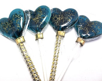 12- HEART LOLLIPOPS with Edible Gold Glitter - Wedding, Bridal Shower, and Party Favors - Available in many colors