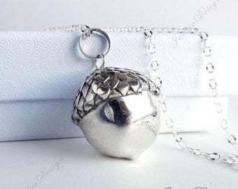 Large Lucky Acorn Pendant Harmony Ball (aka Mexican Bola)Necklace- Sterling Silver ZZ69L