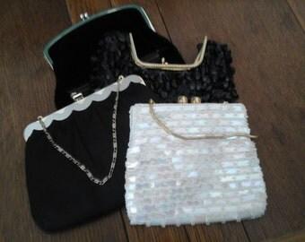 Vintage Handbag Lot Sequined Satin Black and White