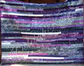 Ready To Ship Queen Size Quilt Strip Stripe Purple Gray Batik Bedding
