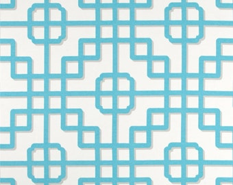 """Two 96"""" x 50""""  Custom  Curtain Panels   - Indoor/Outdoor Panels Geometric - Turquoise/Blue/Grey"""