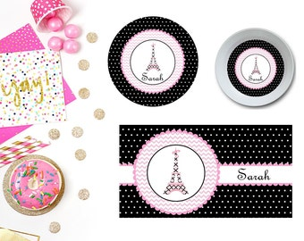 Paris Plate/Bowl/Placemat . Personalized Plate/Bowl/Placemat . Paris Plate . Polka Dots Plate . Big Sister Plate . Parisian Plate