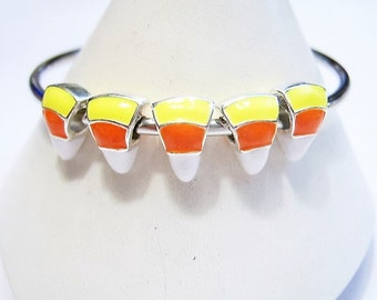 4 European Charm Bracelet, Candy Corn Charms, Orange, White, Yellow,  Bright Silver, Enamel