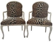 RESERVED Italian Leopard Chairs, Pair
