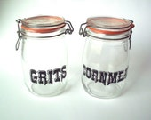 Vintage Grits and Cornmeal Glass Containers, Triomphe, France, 1970's
