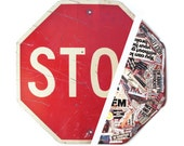 Vintage Stop Sign with Surprise Art Collage on Back, Reflective, Steel Sign, Art Project