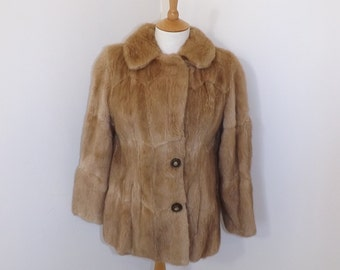 Vintage real musquash or mink fur light honey brown dark blonde short coat bolero jacket small UK 10
