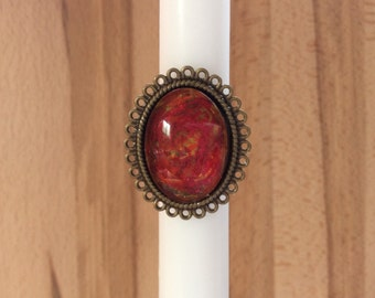 Red statement ring, red velvet ring, oval lace frame, red and gold shimmer ring antique bronze, glass dome ring, adjustable ring