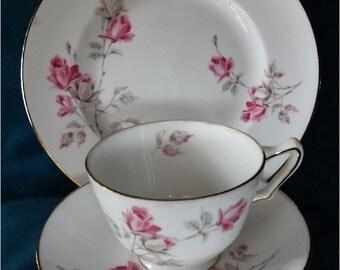 English Teacup Saucer Plate set Pink Rose