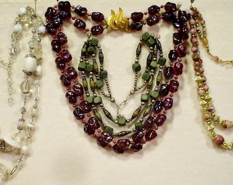 4 Vintage Double strand beaded necklaces, 1 signed Marvella