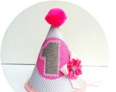 Baby Girl 1st Birthday Party Hat  Silver and Pinks Photo Shoot Cake Smash