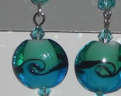 """Earrings Aqua and Turquoise Trendy Art Glass 6mm Crystal Accents~NEW~28"""""""